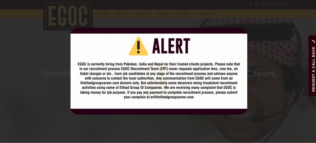 Etihad Group Of Companies Fake Website