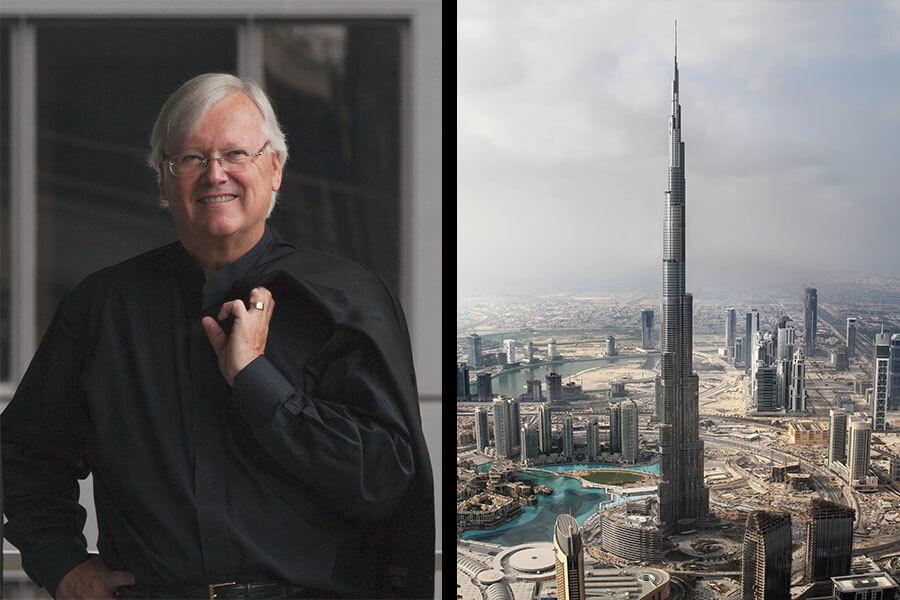 Man behind the Burj khalifa.